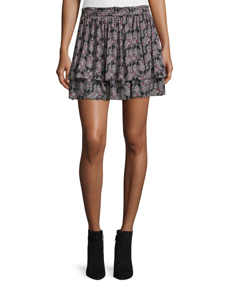 Derek Lam 10 Crosby Tiered Floral Silk Skirt,