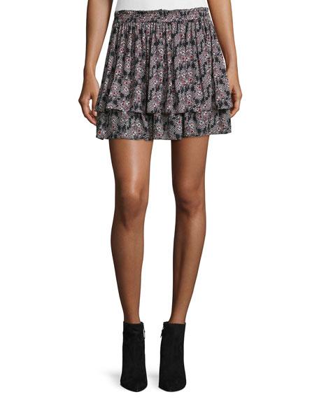 Tiered Floral Silk Skirt, Black/Multicolor
