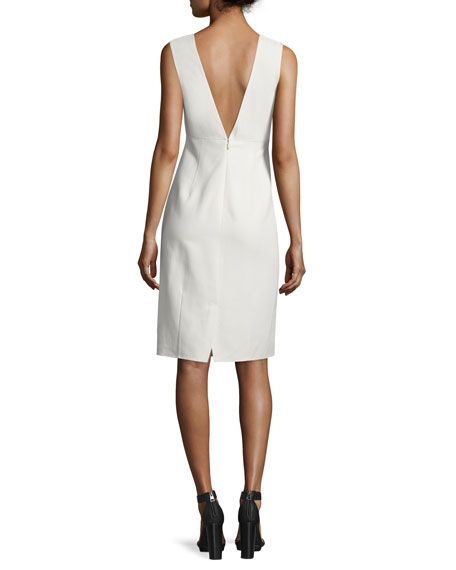 Embellished-Waist Sheath Dress, Beige