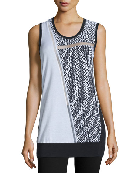 CoSTUME NATIONAL Sleeveless Scoop-Neck Colorblock Top, Multi Colors