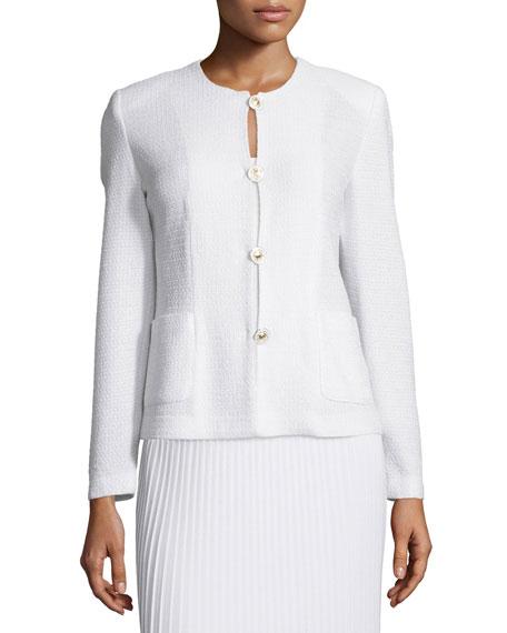 Misook Button-Front Textured Jacket
