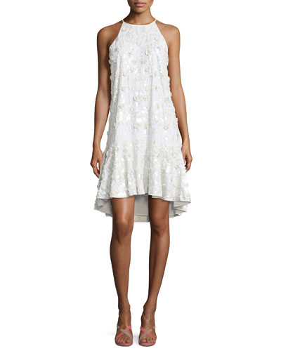 Kera Sleeveless Floral-Embroidered Dress, Ivory