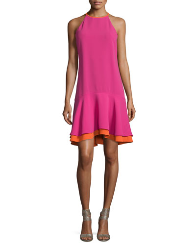 Kera Sleeveless Tiered Crepe Dress, Vivid Pink/Orange