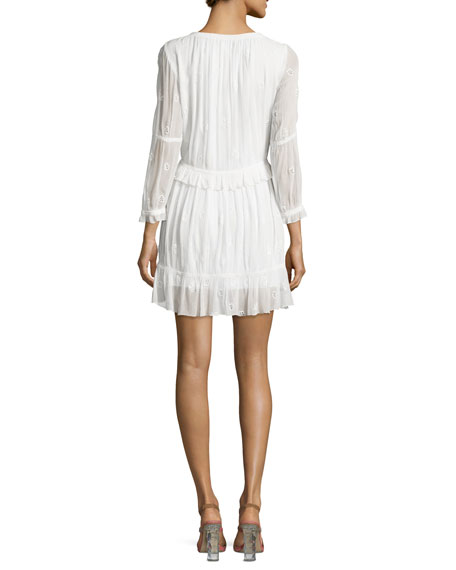 Edlyn 3/4-Sleeve Shirred Embroidered Dress, White