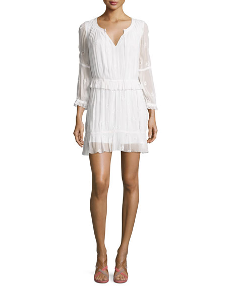 Diane von Furstenberg Edlyn 3/4-Sleeve Shirred Embroidered Dress,