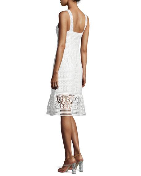 Tiana Sleeveless Lace Flounce Dress, White