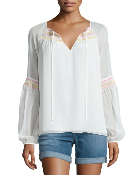 Diane von Furstenberg Sammy Embroidered Long-Sleeve Silk Top,