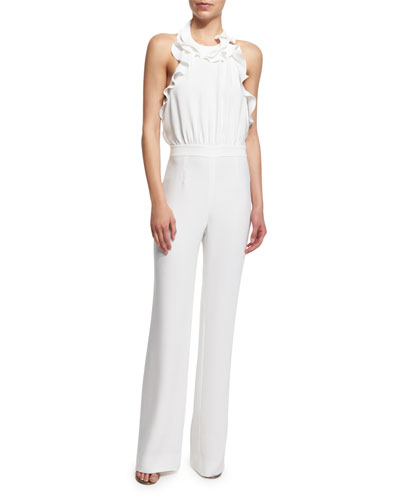 Blithe Silk Ruffle-Trim Halter Jumpsuit, White
