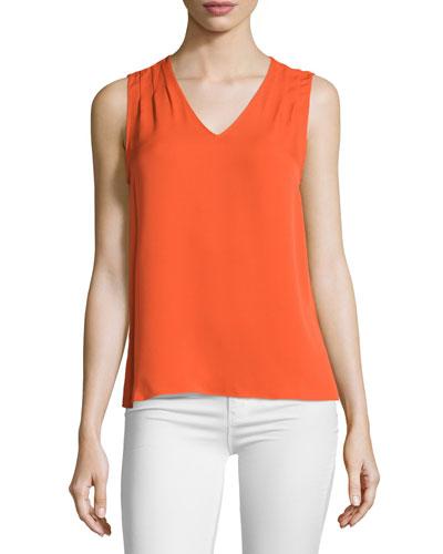 Sky Sleeveless Silk Top, Orange