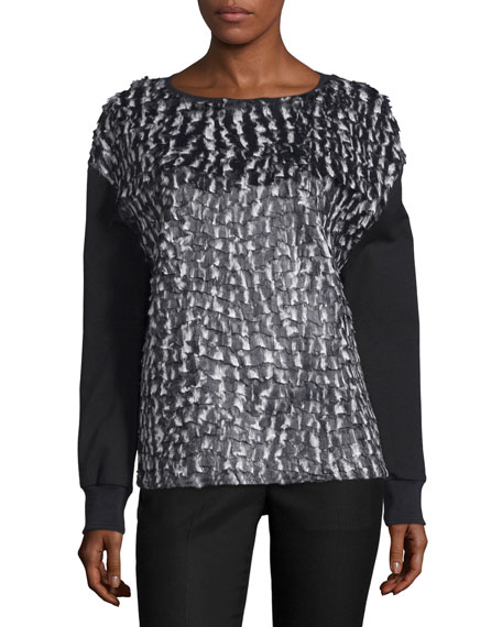 CoSTUME NATIONAL Long-Sleeve Combo Shirt, Black/White