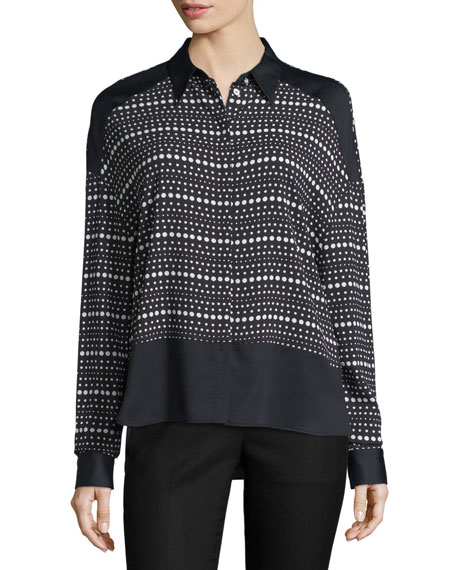 Costume National LONG-SLEEVE DOT-STRIPED SHIRT, BLACK/WHITE