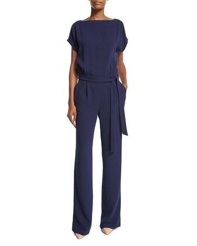 Sandra Belted Crepe Jumpsuit, Midnight