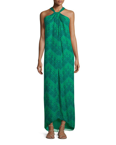 Lilita Chevron Dots Silk Gown, Green