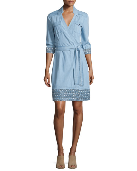 Diane von Furstenberg Savion Collared Chambray Wrap Dress,