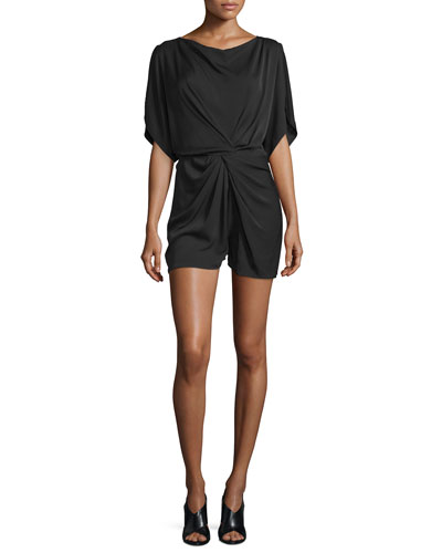 Maxinne Short-Sleeve Stretch Silk Romper, Black