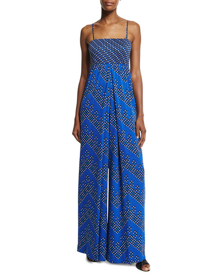 Diane von FurstenbergIvena Sleeveless Chevron Dots Jumpsuit, Blue