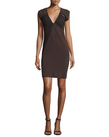 CoSTUME NATIONAL V-Neck Open-Back Sheath Dress, Brown/Black