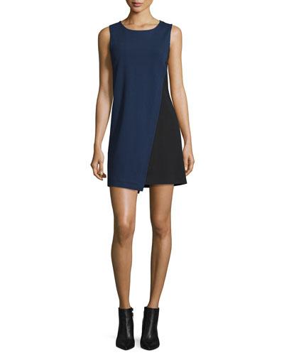 Livvy Asymmetric Colorblock Dress, Midnight/Black
