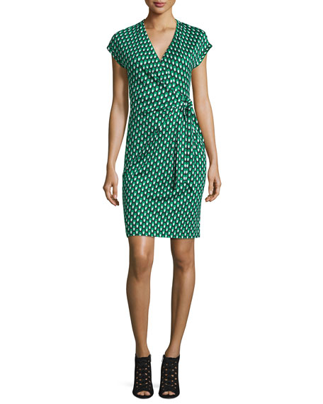 Diane von FurstenbergSascha Dots Faux-Wrap Sheath Dress, Green