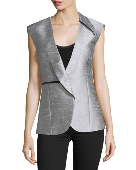 Costume National Asymmetric-Lapel Fitted Vest, Silver
