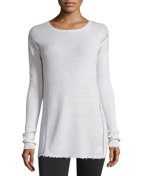 Helmut Lang Long-Sleeve Ribbed Wool Sweater, Ivory