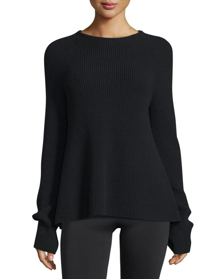 Ribbed Tie-Back Sweater, Black