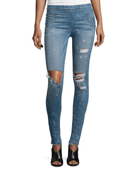 RtA Sonia Distressed Skinny Jeans, Blue Mist