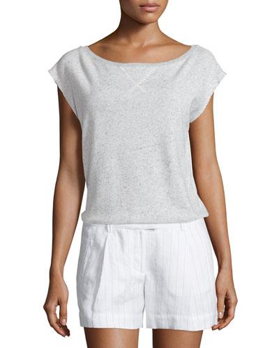 Cap-Sleeve Cotton Sweatshirt, Gray Melange