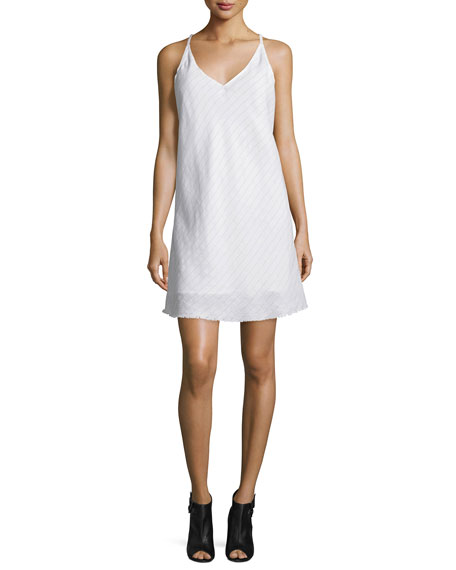 ATM Mitered-Stripe V-Neck Shift Dress, White