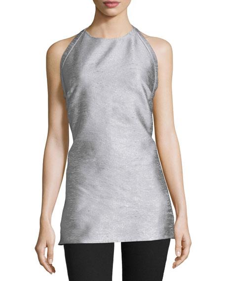 Costume National Halter-Neck Backless Top, Silver