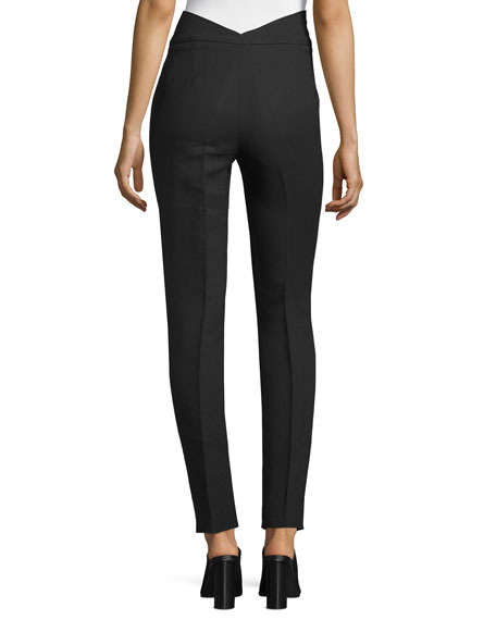 High-Waist Skinny Ankle Pants, Black