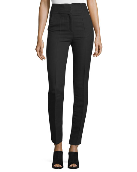 CoSTUME NATIONAL High-Waist Skinny Ankle Pants, Black