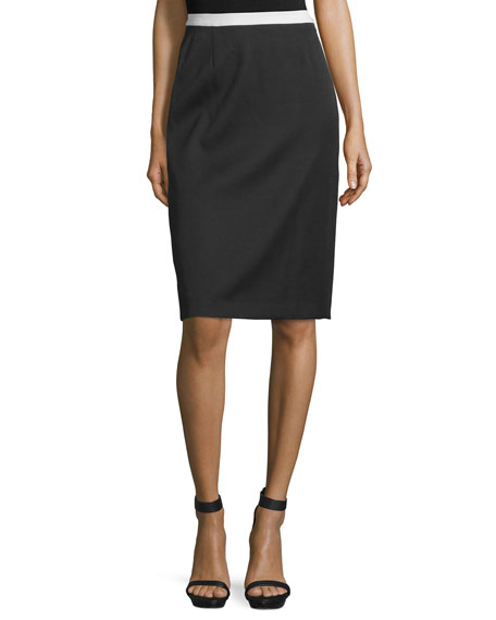 Costume National Contrast-Waist Pencil Skirt, Black