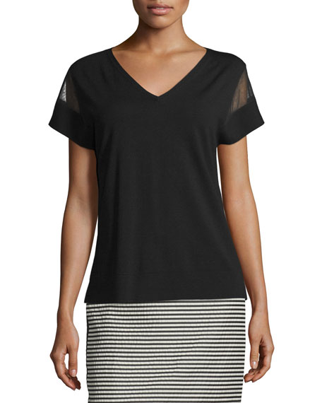 Lafayette 148 New YorkV-Neck Sweater with Sheer Insets,