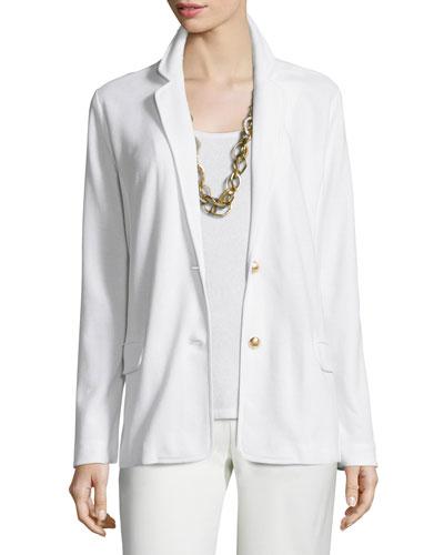 Two-Button Pique Blazer, White, Plus Size