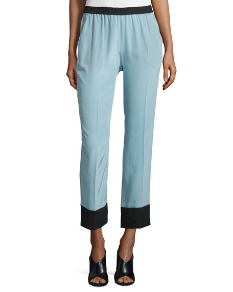 Two-Tone Straight-Leg Cropped Pants, Light Blue