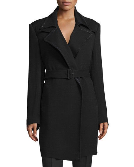 CoSTUME NATIONAL Notched-Collar Belted Trench Coat, Black