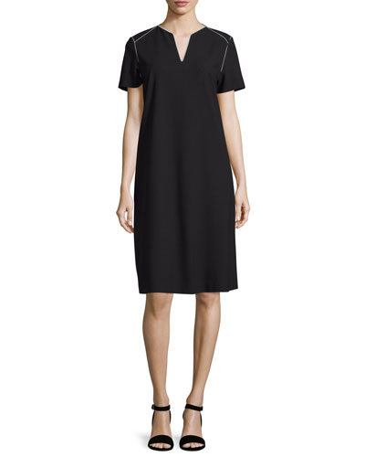 Lafayette 148 New York Ezra Contrast-Piped Short-Sleeve Dress, Black