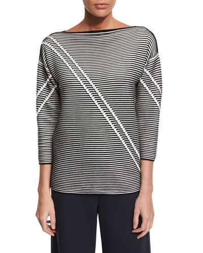 Pintucked 3/4-Sleeve Striped Sweater, Black Multi Price