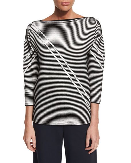 Lafayette 148 New York Pintucked 3/4-Sleeve Striped Sweater,