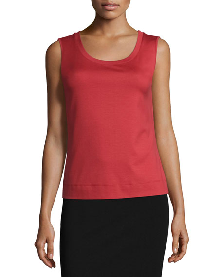 Lafayette 148 New York Scoop-Neck Slim-Fit Tank, Red