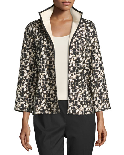 Belline Reversible Printed Jacket, Black/Multi