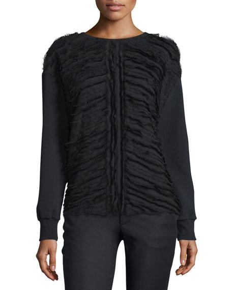 Long-Sleeve Ruffle-Front Shirt, Black