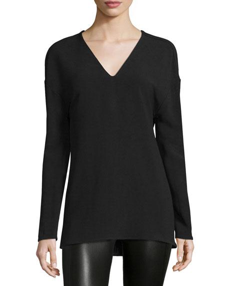CoSTUME NATIONAL Dropped-Shoulder V-Neck Shirt, Black