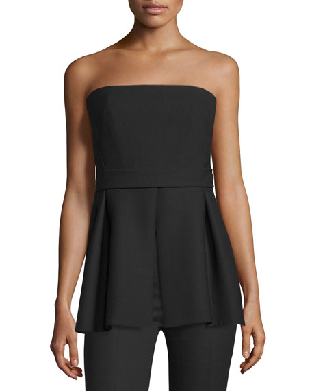 Costume National Strapless Pleated-Peplum Top, Black