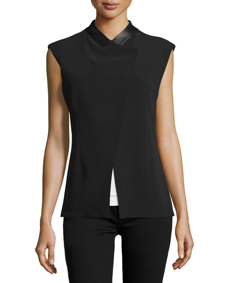 CoSTUME NATIONAL Sleeveless Asymmetric-Front Jacket, Black