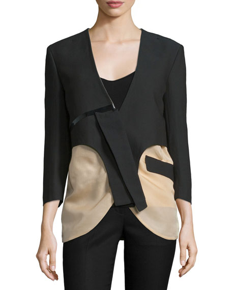 Costume National 3/4-Sleeve Two-Tone Jacket, Black