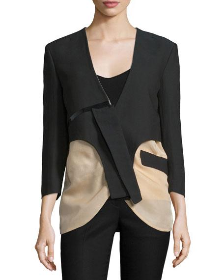 3/4-Sleeve Two-Tone Jacket, Black