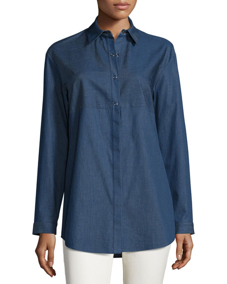 Lafayette 148 New York Nicoletta Denim Long-Sleeve Blouse,