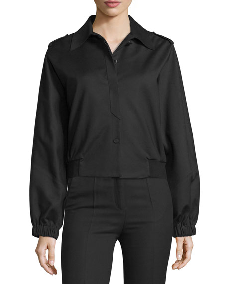 Costume National Button-Front Short Sports Jacket, Black